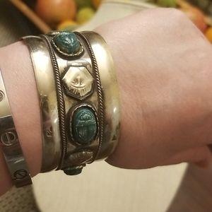 Vtg. Egyptian Scarab Cuff/Bracelet